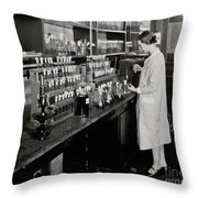 Female Scientist Conducting Experiment Throw Pillow