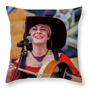 Female Stage Performer With Drum Throw Pillow