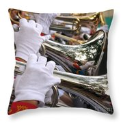 Female Trumpet Players Throw Pillow by Yali Shi