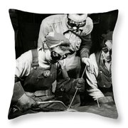 Female Welders - Ww2 Homefront - 1943 Throw Pillow