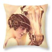 Feminine Rider Throw Pillow