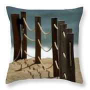 Fence Along The Beach Throw Pillow
