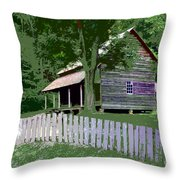Fence And Cabin Throw Pillow