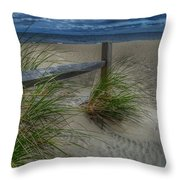 Fence And Dune Grass Throw Pillow