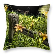 Fence And Flowers Throw Pillow
