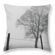 Fence And Fog Throw Pillow
