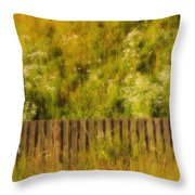 Fence And Hillside Of Wildflowers On Suomenlinna Island In Finland Throw Pillow