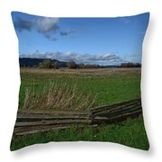 Fence And Open Field Throw Pillow