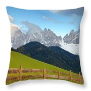 Fence At Val Di Funne Throw Pillow