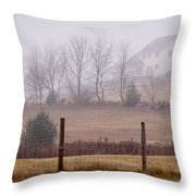 Fence Field And Fog Throw Pillow
