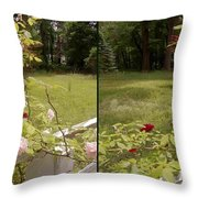 Fence Full Of Roses - Cross Your Eyes And Focus On The Middle Image Throw Pillow