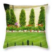 Fence Lined Garden Throw Pillow