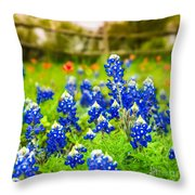 Fence Me In With Flowers Squared  Throw Pillow