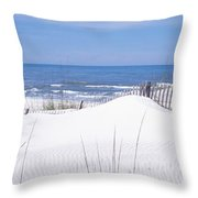 Fence On The Beach, Gulf Of Mexico, St Throw Pillow