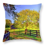 Fence Pasture And Barn 1721 Throw Pillow