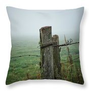 Fence Post And Fog Throw Pillow