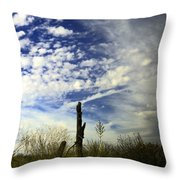 Fence Post And New Mexico Sky Throw Pillow