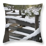 Fence Post At Donner Lake Area Covered Throw Pillow