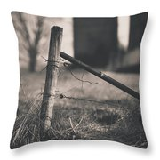 Fence Post In Black And White Throw Pillow