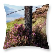 Fence Post In The Peak District Throw Pillow