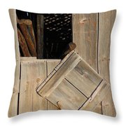 Fence Posts In Barn Throw Pillow