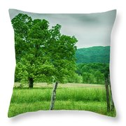 Fence Row And Tree Throw Pillow