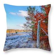Fenced Autumn Throw Pillow
