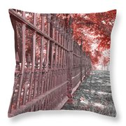 Fenced In Red Throw Pillow