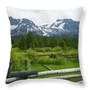 Fenced In Sawtooths Throw Pillow