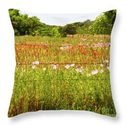 Fenced In Wildflowers Throw Pillow