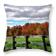 Fences, Fields And Foliage Throw Pillow