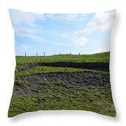 Fencing Along A Field Above The Cliff's Of Moher Throw Pillow