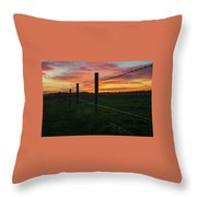 Fencline Sunset Throw Pillow