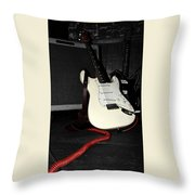 Fender Guitar And Amp In Selective Color Throw Pillow
