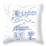 Fender Guitar Patent Drawing Throw Pillow