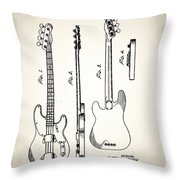 Fender Precision Bass Patent 1952 Throw Pillow