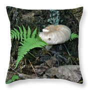 Fern And Mushroom Throw Pillow