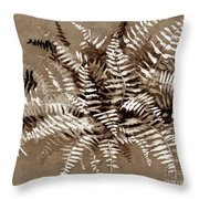 Fern In Sepia Throw Pillow