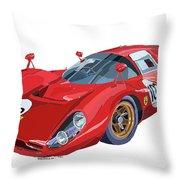 Ferrari 412p 330 P4 1967 Le Mans Throw Pillow