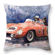 1953-1955 Ferrari 500 Mondial 1000 Miglia Throw Pillow