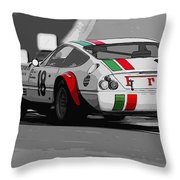 Ferrari Daytona 365 Gtb4 - Italian Flag Livery Throw Pillow