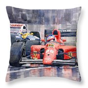 1991 Ferrari F1 Jean Alesi Phoenix Us Gp Arizona 1991 Throw Pillow