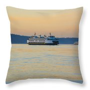 Ferries At Sunset Throw Pillow