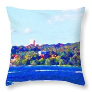 Ferries In The Harbor Throw Pillow