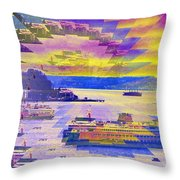 Ferries Off Alki Throw Pillow