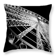 Ferris Wheel Against Black Sky Throw Pillow