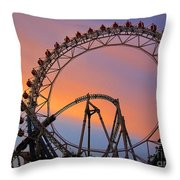 Ferris Wheel Sunset Throw Pillow by Eena Bo