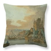 Ferry Across A River Throw Pillow