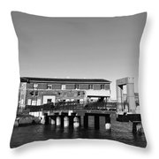 Ferry Building And Pinnacle Building - San Francisco Embarcadero - Black And White Throw Pillow