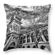 Ferry Building Black  White Throw Pillow